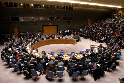 The United Nations Security Council begins a meeting on the situation in the Middle East, including the Palestine, at the United Nations Headquarters in New York